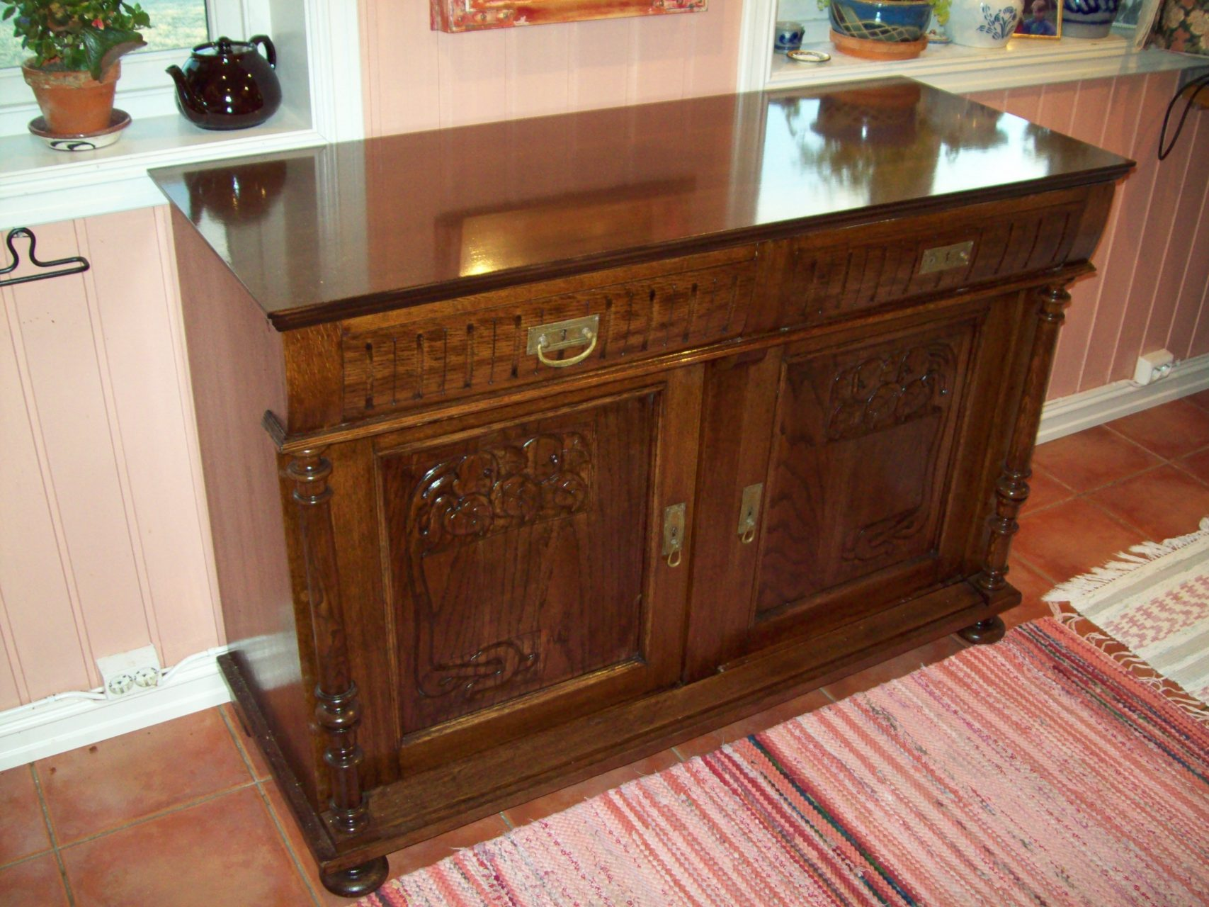 Antique cabinet restored and new cabinet top.