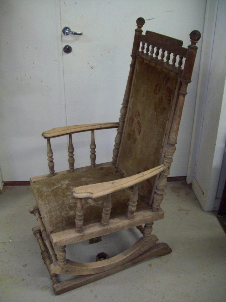 Antique rocking chair, re-upholstery and wood renovation.